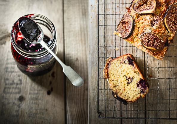 Blackberry jam and cake